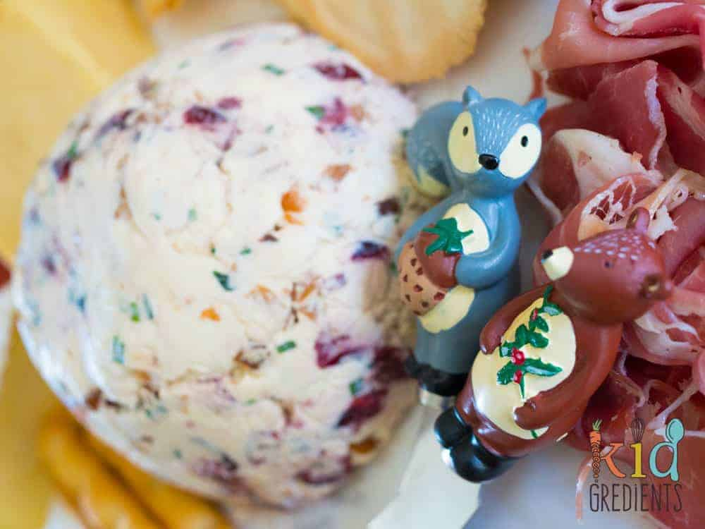cream cheese christmas bauble, cranberry and macadamia dip