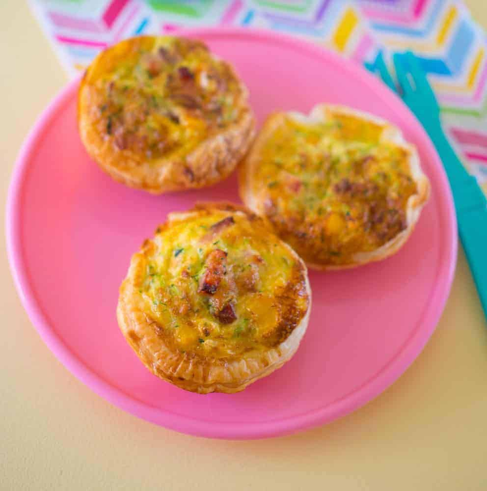 Lunchbox bacon and veggie quiches