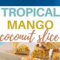 Lower in sugar than other coconut slices, this tropical mango coconut slice is perfect for the lunchbox or a mid afternoon snack! Kid friendly, freezer friendly and totally delicious.