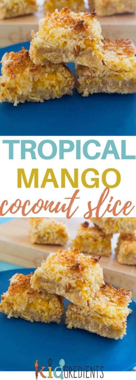 Lower in sugar than other coconut slices, this tropical mango coconut slice is perfect for the lunchbox or a mid afternoon snack! Kid friendly, freezer friendly and totally delicious. #kidsfood #mango #slice #snack