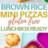 Brown rice mini pizzas, gluten free, easy to make and freezer friendly. Super yummy and perfect for the lunchbox.
