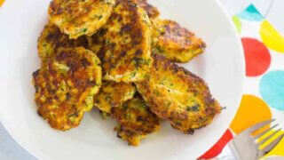 Chicken, haloumi and kale fritters
