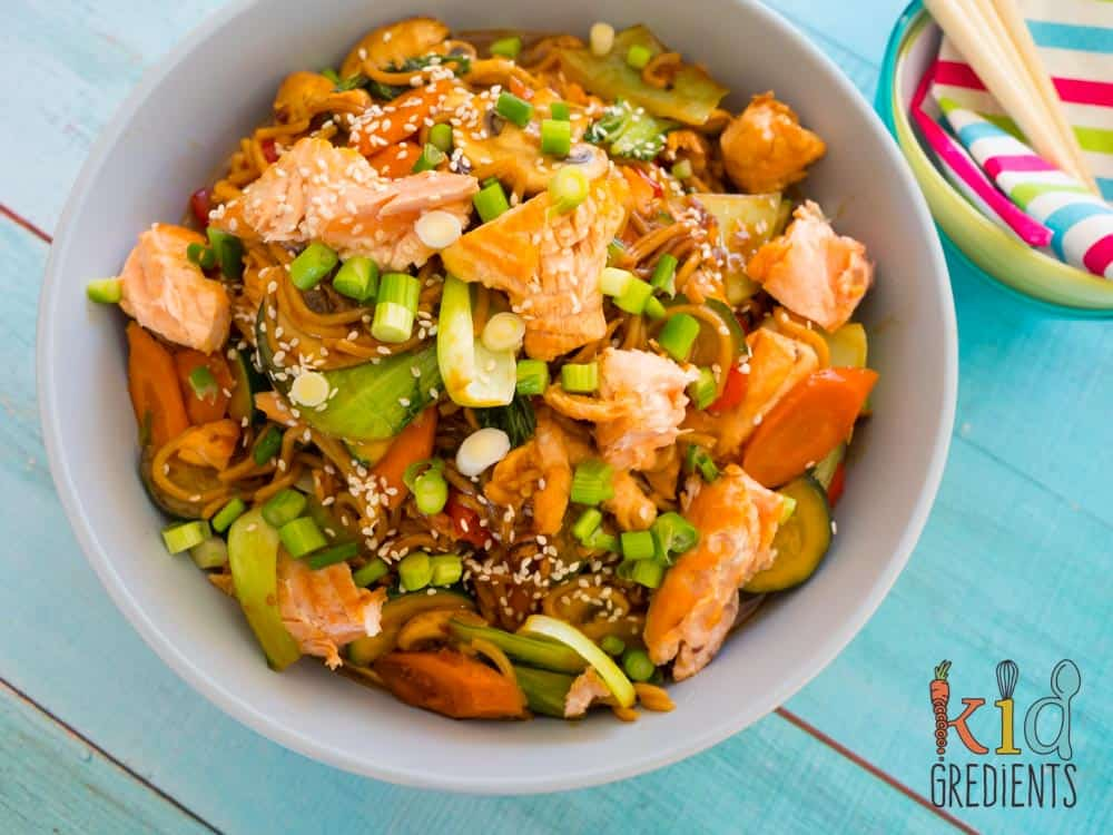 honey soy salmon and veggie stirfry