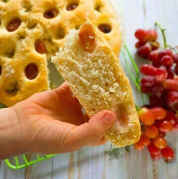 red grape and rosemary focaccia