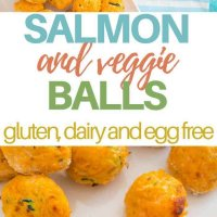 These salmon and veggie balls are gluten free, dairy free, egg free and packed full of yum!  Kid approved and perfect for the lunchbox or even baby led weaning.