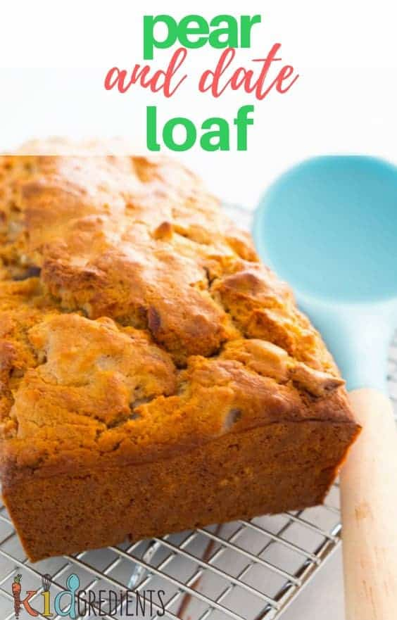 Pear and date loaf, no added sugar and quick and easy to make.  Perfect for freezing in slices.  #kidgredients #kidsfood #pear #date #loaf #baking
