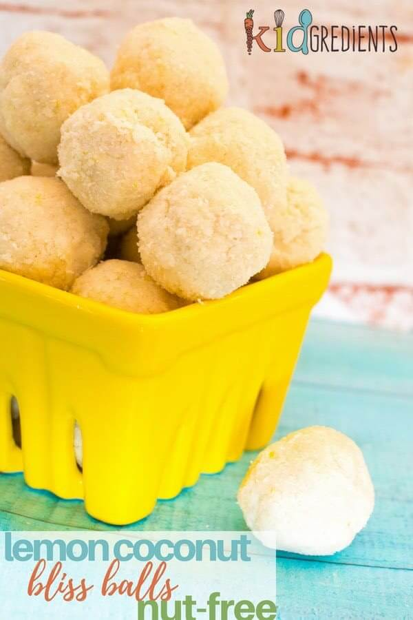 These yummy lemon coconut bliss balls are nut free, gluten free, dairy free, freezer friendly and delicious! Perfect for lunchboxes. Kid friendly! #kidgredients #snacks #blissballs #lemon #coconut