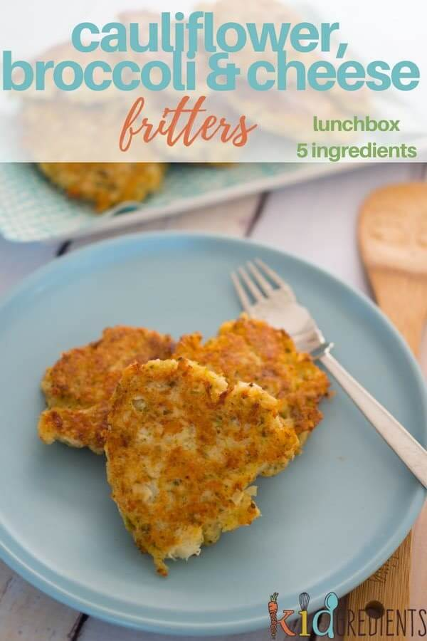 Cauliflower, broccoli and cheese fritters...perfect for the lunchbox, these freezer friendly, kids friendly 5 ingredients fritters are super easy to make. #kidgredients #fritters #vegetarian #kidsfood #recipe #cauliflower #5ingredients