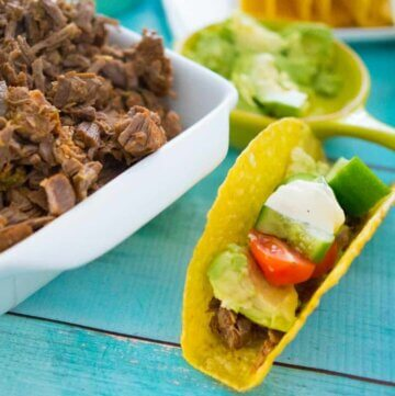 Shredded beef carnitas with lime, slow cooker and pressure cooker method