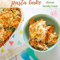 roasted veggie and bacon pasta bake