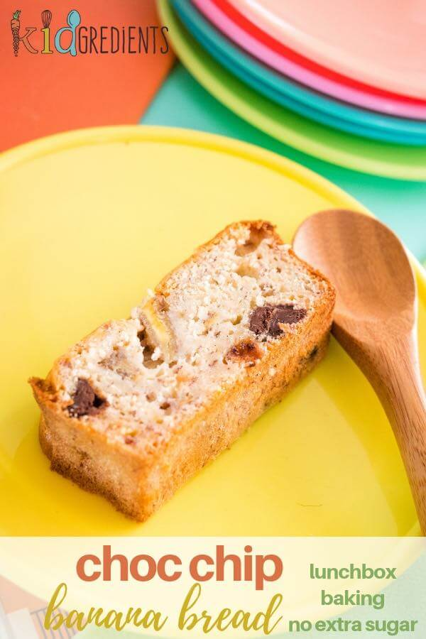 Choc chip banana bread with no added extra refined sugar.  Super yummy, easy make and freezer friendly.  Great for the lunchbox! #kidgredients #kidsfood #bananabread #baking #lunchbox