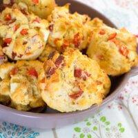 Fetta, salami and capsicum savoury muffins