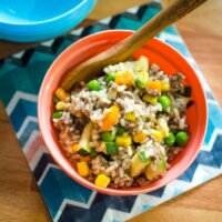 Savoury mince with brown rice- one pot wonder!