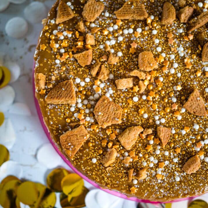 Ginger caramel cheesecake, a no-bake celebration cake.  Conventional method