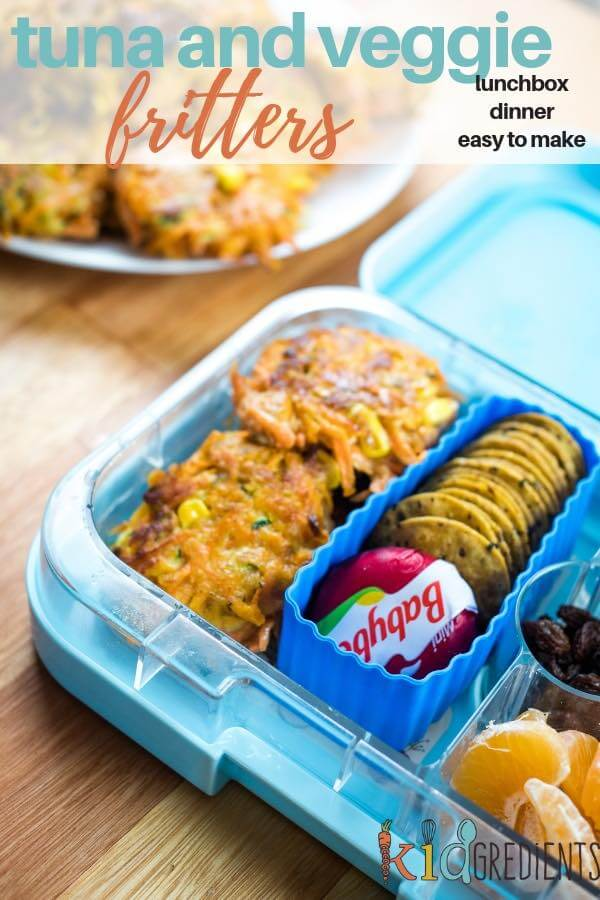 These yummy tuna and veggie fritters are easy to make and perfect for the lunchbox.  Enjoy hot or cold! #kidgredients #kidsfood #lunchbox #fritters #tuna #veggies