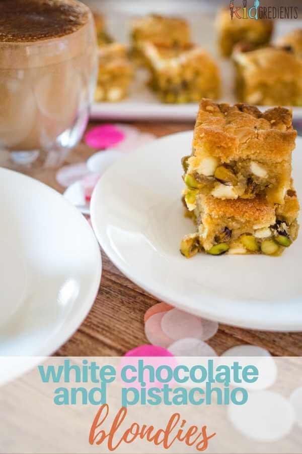 white chocolate and pistachio blondies