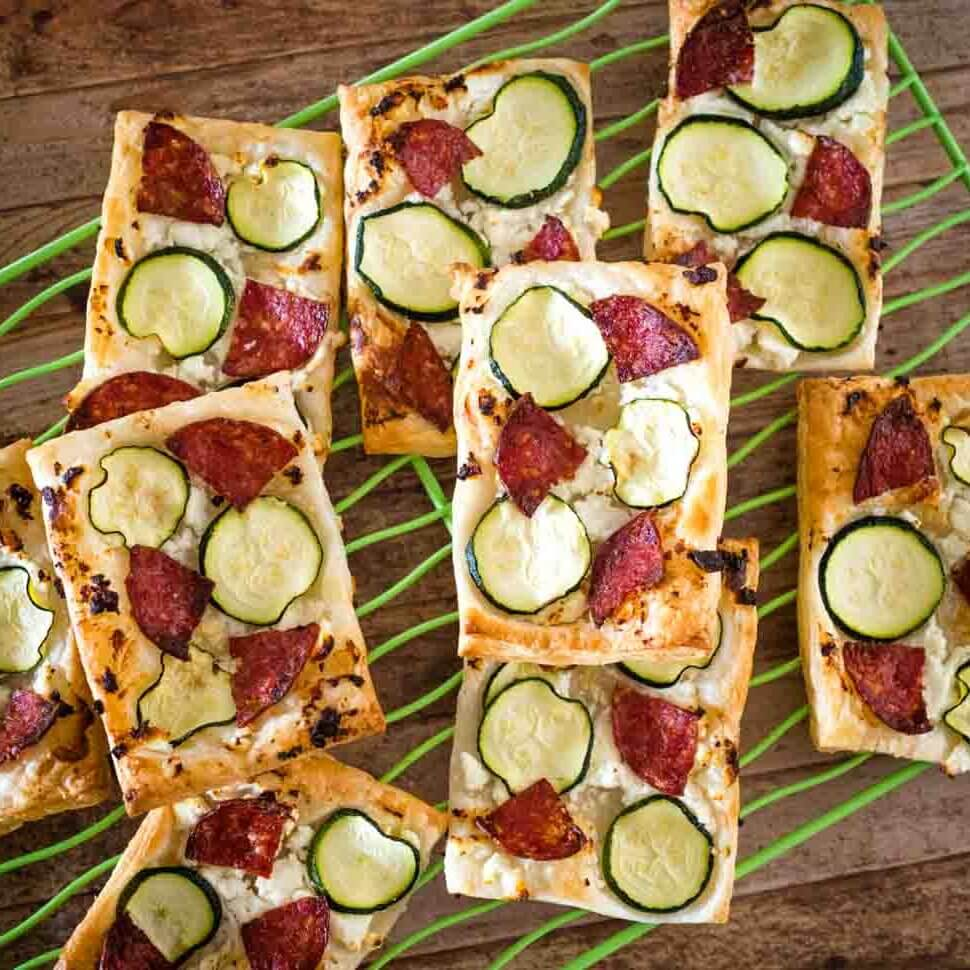 salami and zucchini 4 ingredient pizzas