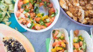 Papaya chicken tacos with papaya salsa
