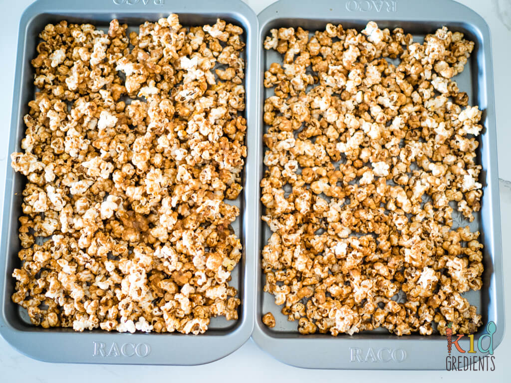 caramel gingerbread popcorn on oven trays