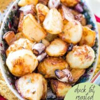 pinterest image with duck fat roasted with thyme and garlic