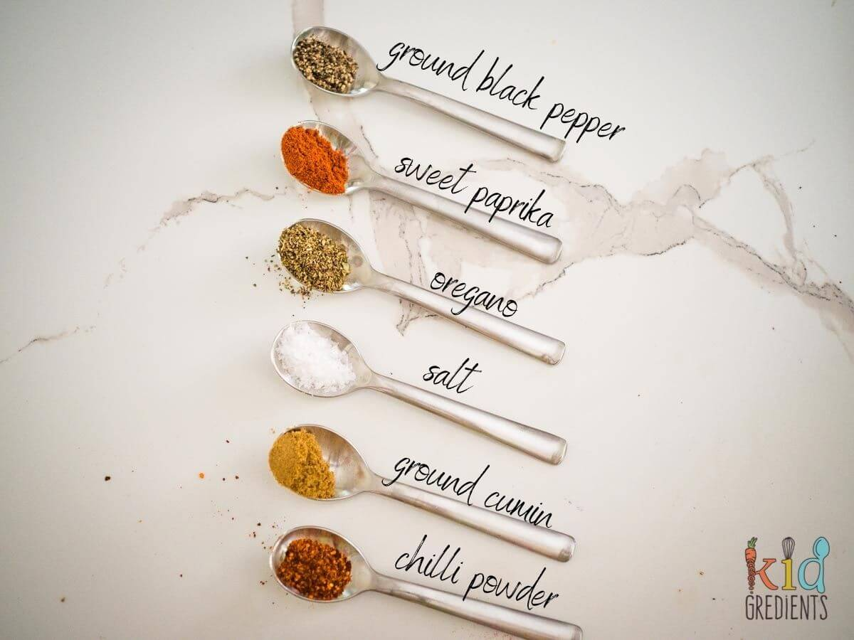 spice mix, ground black pepper, paprika, oregano, salt, ground cumin, chilli powder