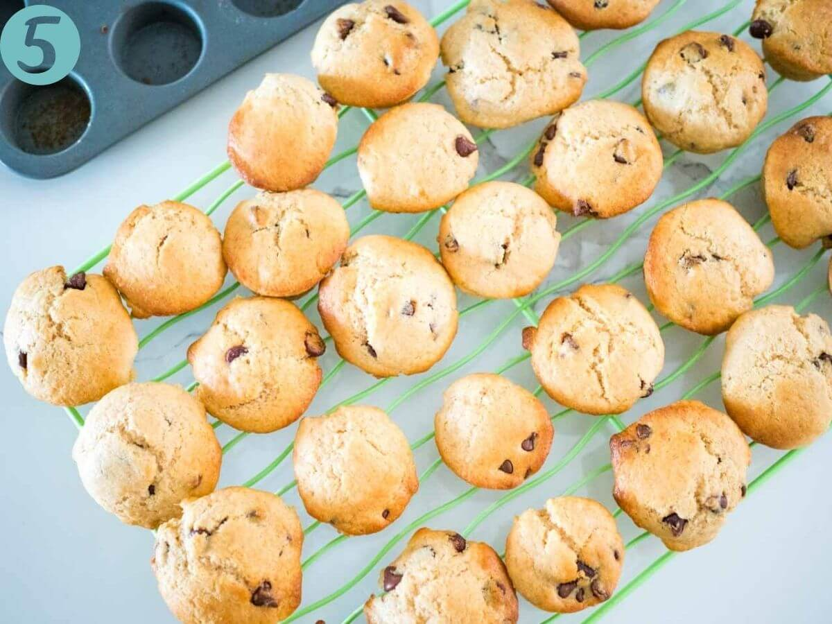 choc chip muffins cooling on a wires rack