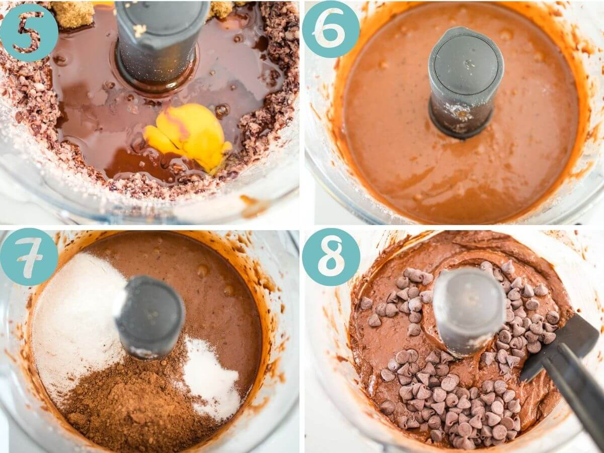 Adding eggs, vanilla and melted chocolate, processing, adding dry ingredients, processing, adding in chocolate chips