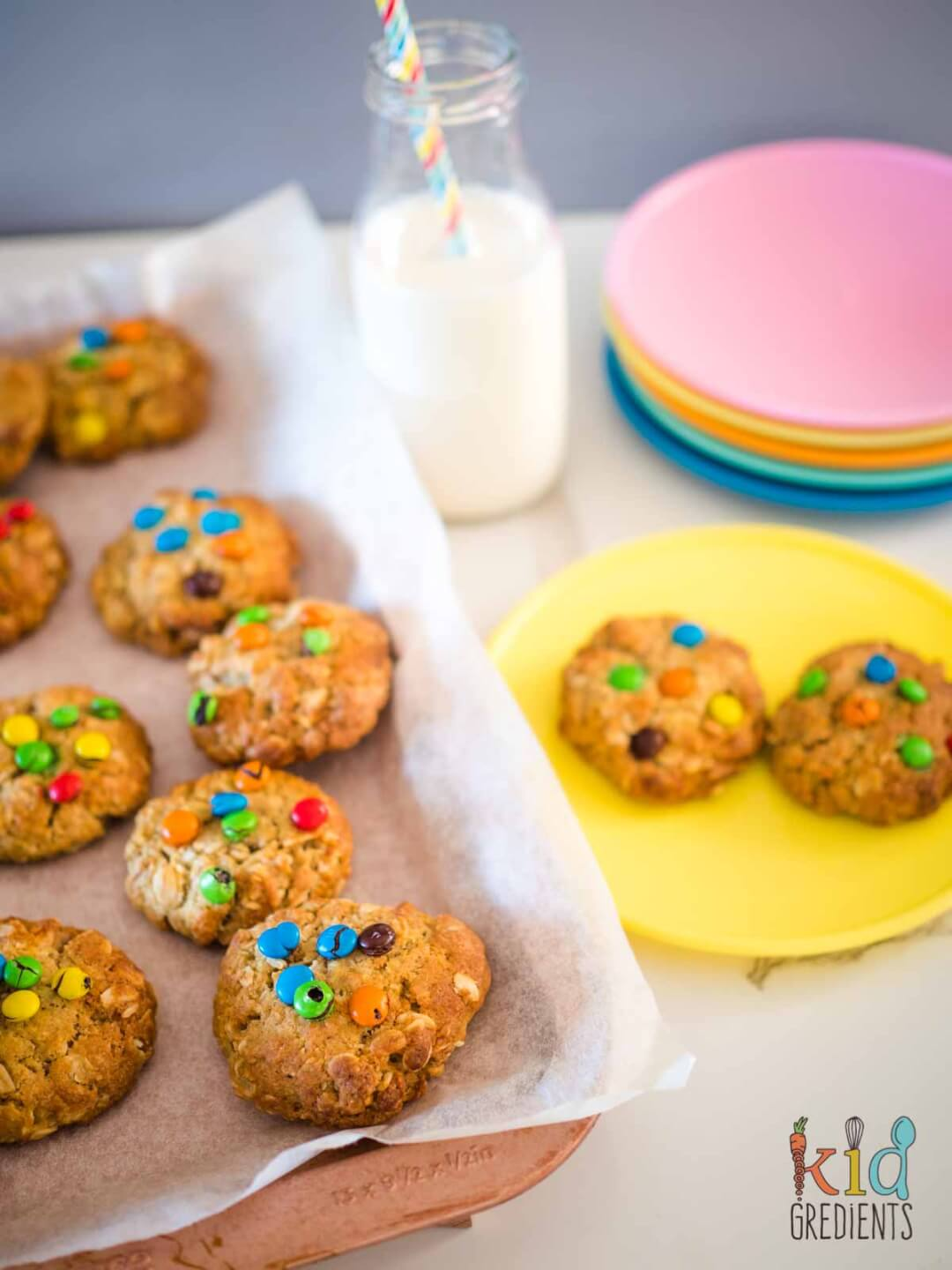 Oatmeal M&M Cookies on a plate and on the baking tray