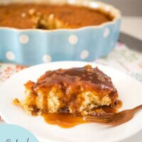 Baked Caramel Pudding on a plate with sauce
