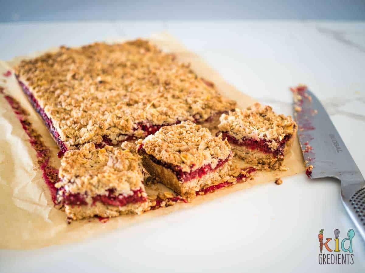 Healthy Jam Bars, sliced and ready to eat!