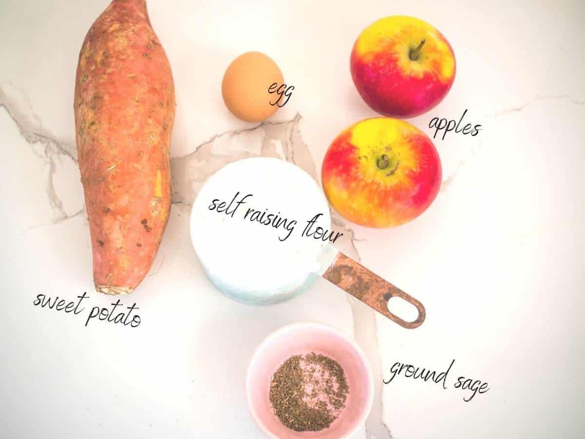 Ingredients: sweet potato, apples, self raising flour, sage and an egg