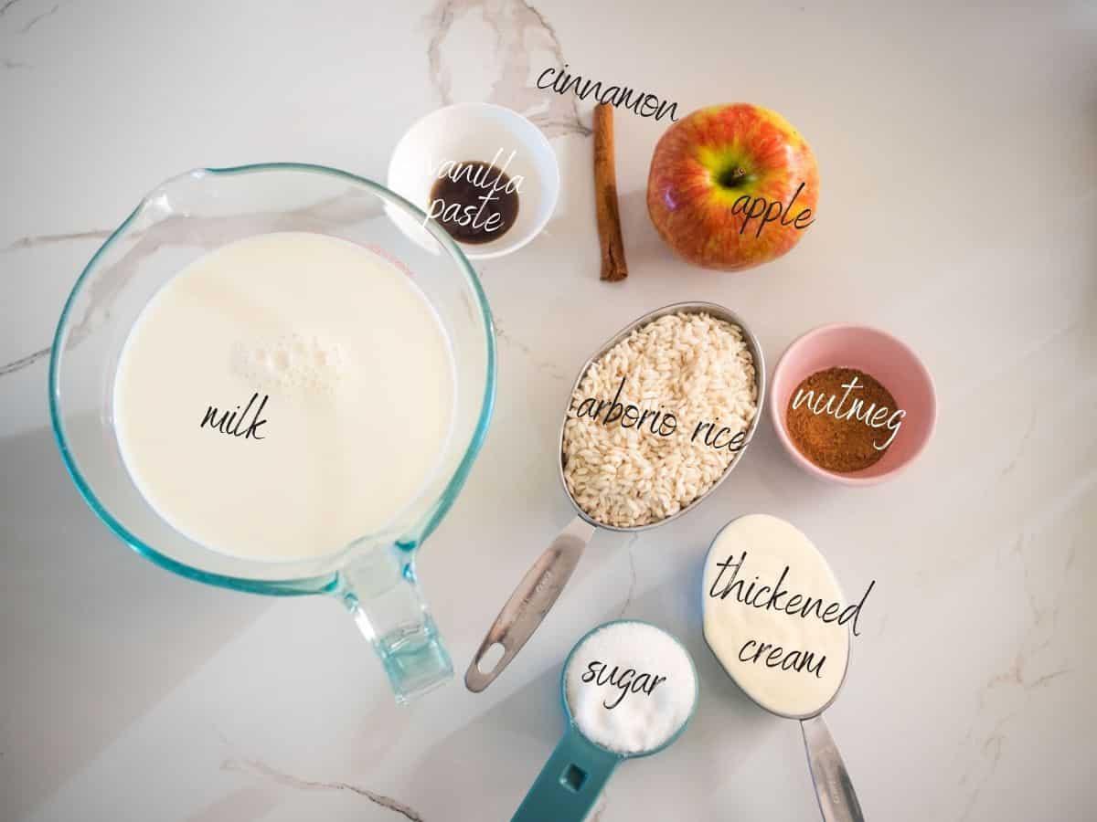 ingredients: arborio rice, milk, thickened cream, sugar, nutmeg, apple, vanilla and cinnamon stick