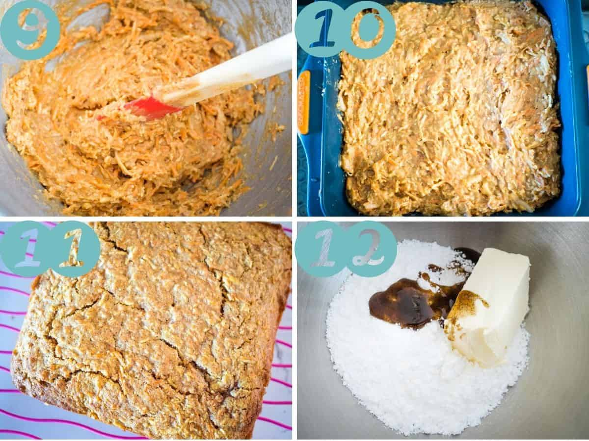 mixing it together, putting into the cake pan, baked cake, icing ingredients