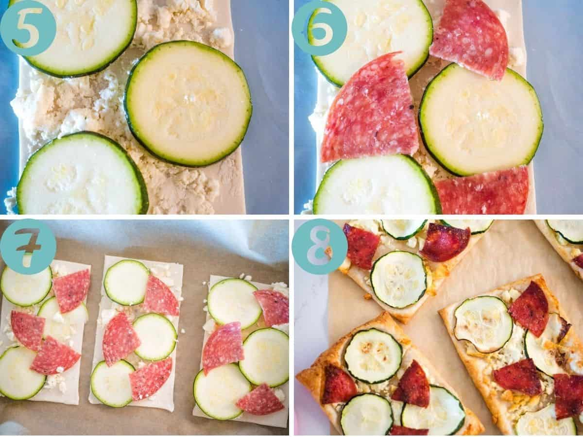 putting on zucchini, topping with salami, ready for baking, after baking