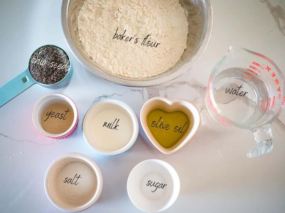 ingredients: chia seeds, baker's flour, water, yeast, milk, olive oil, sugar and salt