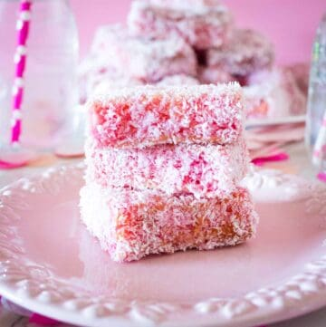 pink lamingtons on a pink plate