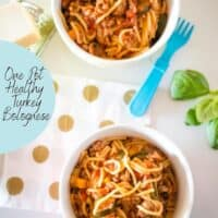 one pot healthy turkey bolognese in bowls